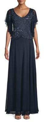 J Kara Petite Embellished Flutter Gown