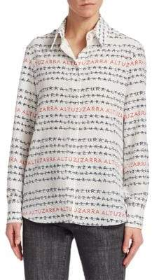 Altuzarra Chika Silk Logo Button-Down Blouse