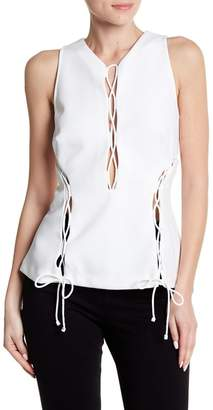 KENDALL + KYLIE Kendall & Kylie V-Neck Lace-Up Blouse
