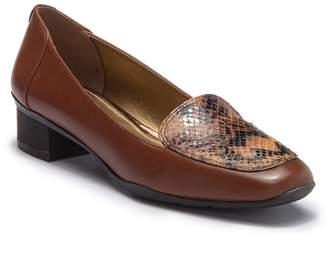 Anne Klein Daneen Leather Block Heel Loafer