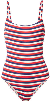 Solid & Striped The Nina Striped Ribbed Stretch-knit Swimsuit - Navy