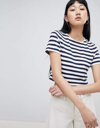 Asos Design DESIGN Crop T-Shirt In Stripe