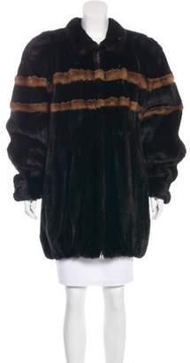 Fur Striped Mink Coat