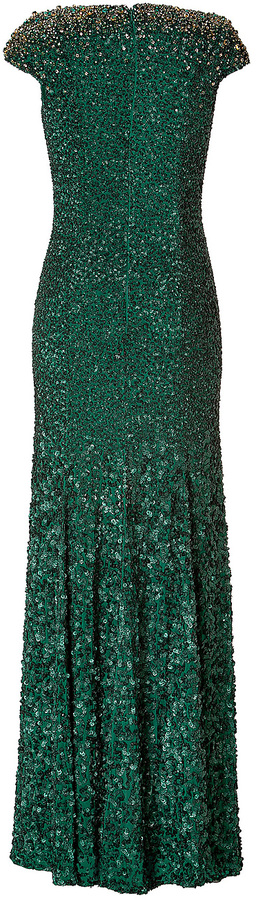 Jenny Packham Silk Sequined Gown in Matador