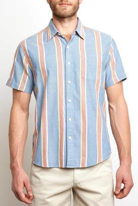The Normal Brand Oakland Striped Short Sleeve Woven Button Down Shirt