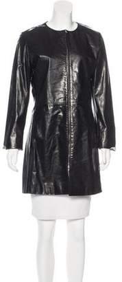 Chaiken Leather Knee-Length Coat