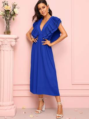 0c66a6be1044 Shein Layer Ruffle Trim Deep V-neck Tie Back Dress