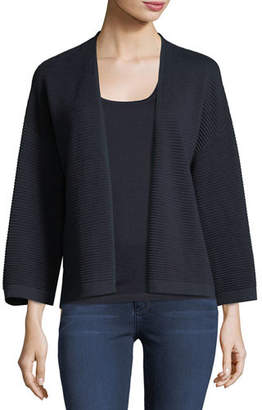 Neiman Marcus Silk/Cashmere Ottoman Knit Cardigan