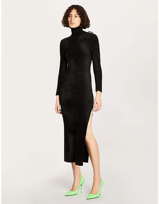 340177ecebd Balenciaga Turtleneck velvet midi dress