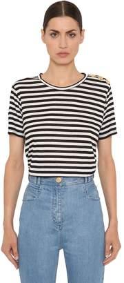 Balmain Striped Viscose Jersey T-Shirt