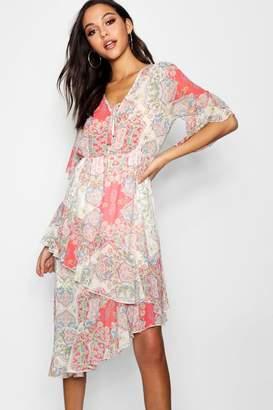 boohoo Sarah Paisley Print Asymmetric Ruffle Maxi Dress