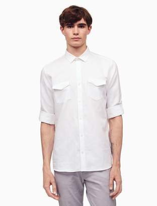 Calvin Klein classic fit linen blend 2-pocket shirt