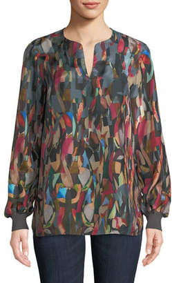 Lafayette 148 New York Roxy Aesthetic Textured Silk Blouse