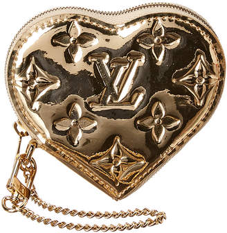 Louis Vuitton Gold Miroir Leather Heart Coin Purse