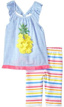 Mud Pie Pineapple Ruffle Tunic Capris Two-Piece Set Girl's Suits Sets