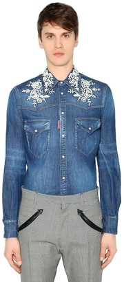 DSQUARED2 Cotton Denim Shirt W/ Flower Embroidery