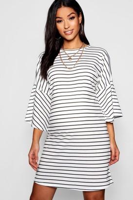 b02004c9e8fca boohoo Maternity Mono Stripe Frill Sleeve Tshirt Dress