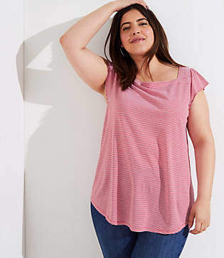 LOFT Plus Striped Square Neck Tee