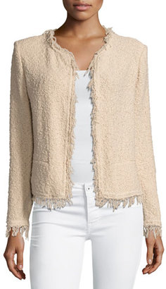 Iro Shavani Fringe Boucle Jacket, Light Pink $380 thestylecure.com