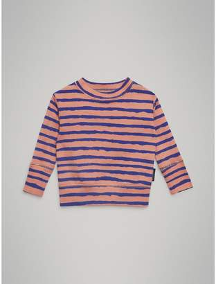 Burberry Striped Rib Knit Cotton Sweatshirt , Size: 3Y, Pink