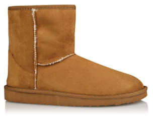 George Tan Faux Suede Faux Fur Lined Slipper Boots