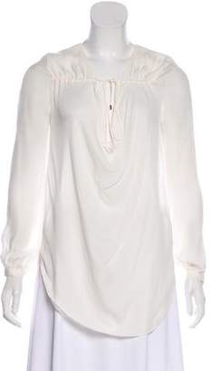 Haute Hippie Silk Long Sleeve Blouse