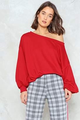 Nasty Gal Shrug 'Em Off One Shoulder Sweatshirt