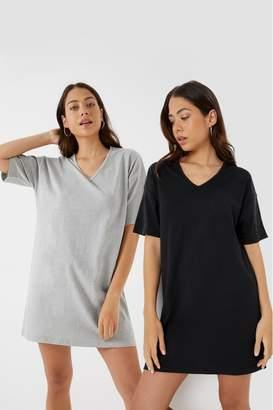 Missguided Womens V neck T-Shirt Dress - Pack of 2 - Black