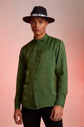 boohoo Metallic Jacquard Animal Long Sleeve Shirt