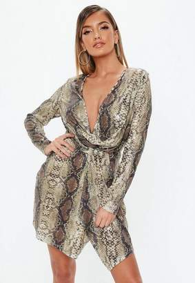 Missguided Nude Snake Print Sequin Plunge Wrap Shift Dress