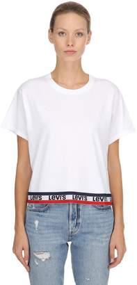 Levi's Logo Hem Cropped Cotton T-Shirt