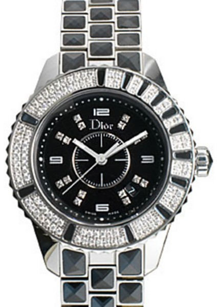 Dior Christal Black Diamond Bezel Watch 33mm
