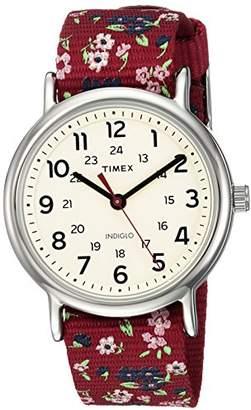 Timex Women's TW2R29700 Weekender Violet Floral Reversible Nylon Slip-Thru Strap Watch