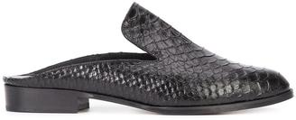 Robert Clergerie embossed crocodile effect mules $495 thestylecure.com
