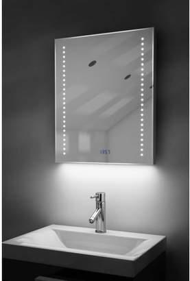 Diamond X Collection Digital Clock Slim Bathroom Mirror with RGB Lighting, Demist & Sensor k192rgb