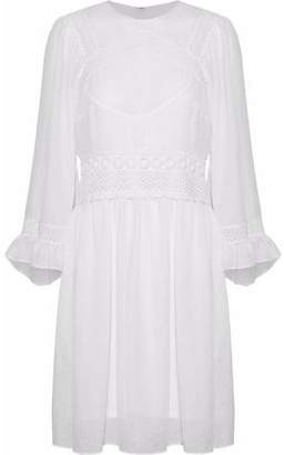 McQ Guipure Lace-Trimmed Gauze Mini Dress