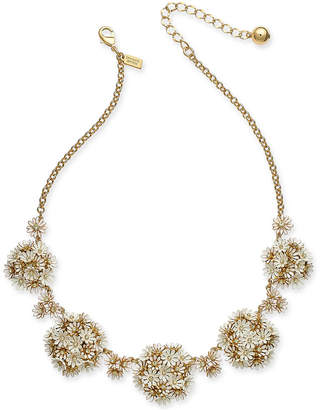"Kate Spade Gold-Tone Crystal & Stone Flower 18"" Statement Necklace"