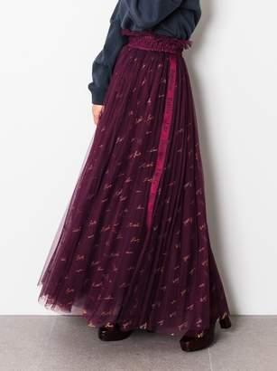 Snidel (スナイデル) - スナイデル ロゴ刺繍チュールスカート