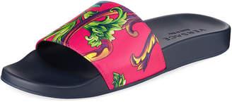 Versace Men's Graphic-Print Leather Shower Slide Sandals