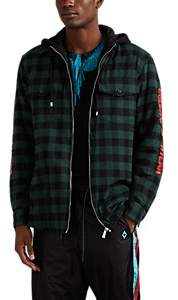 Marcelo Burlon County of Milan Men's Plaid Flannel Hooded Shirt Jacket - Green