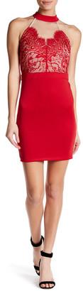 Trixxi Scuba Lace Halter Dress $59 thestylecure.com