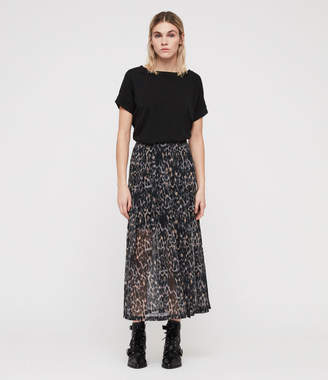 AllSaints Drea Leopard Skirt