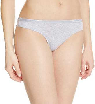 Emporio Armani Women's Essential Stretch Cotton Brasilian Brief, Grey Melange