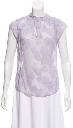 Rebecca Taylor Cap Sleeve Floral Accent Top
