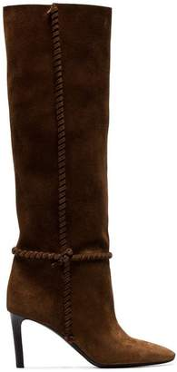 95d3e4667e2 Saint Laurent brown Mica 75 knee high slouch suede boots