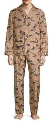 Valentino Two-Piece Wing-Print Silk Pajama Set