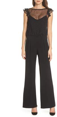 Julia Jordan Illusion Neck Wide Leg Jumpsuit