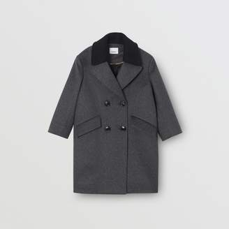 Burberry Childrens Contrast Collar Cashmere Tailored Coat