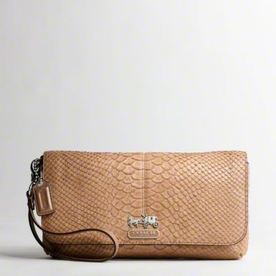 Madison Embossed Python Large Wristlet