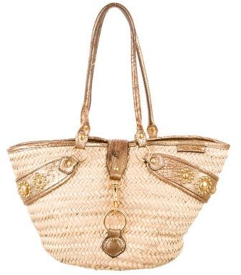 Miu Miu Miu Miu Leather-Trimmed Raffia Tote
